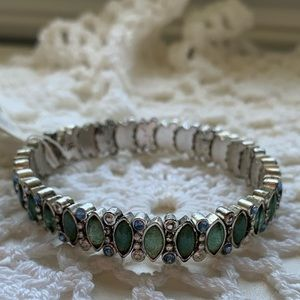 Jewelry - Green and Silver Jeweled Bracelet